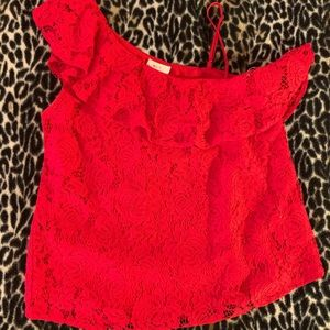 Mine red one shoulder lace top